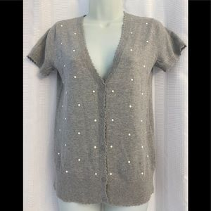 Elle Dots Knit Button Down Top Short Sleeve Top XS